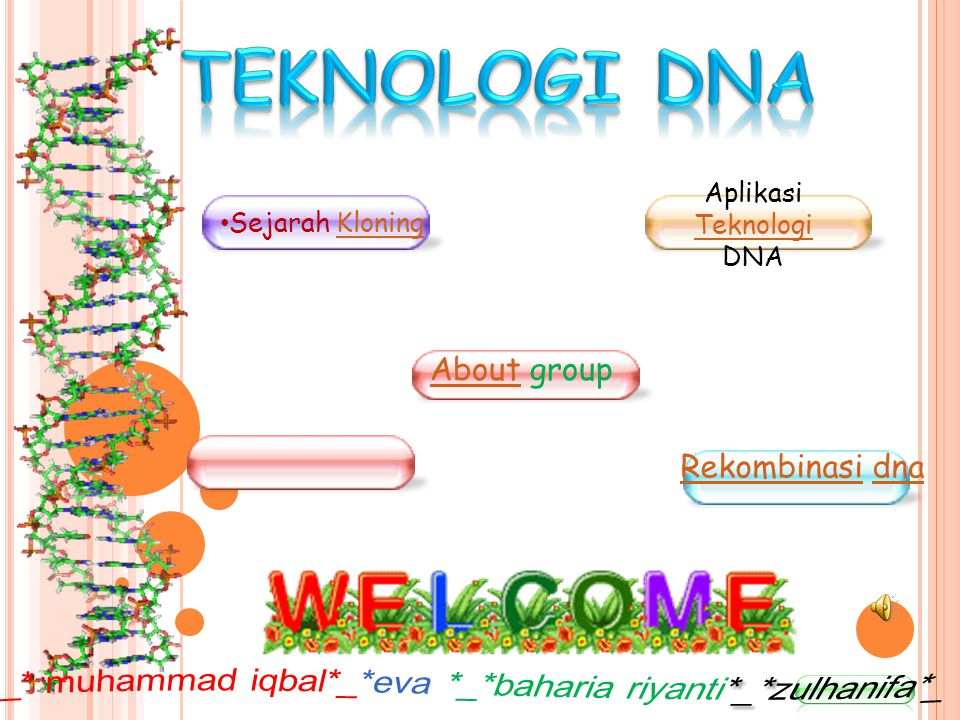 AboutAbout group Sejarah KloningKloning Aplikasi Teknologi DNA Teknologi RekombinasiRekombinasi dnadna