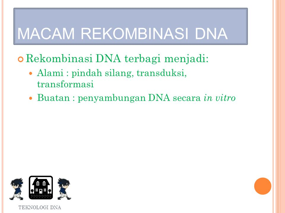 Proses menyambungkan DNA disebut rekombinasi DNA.