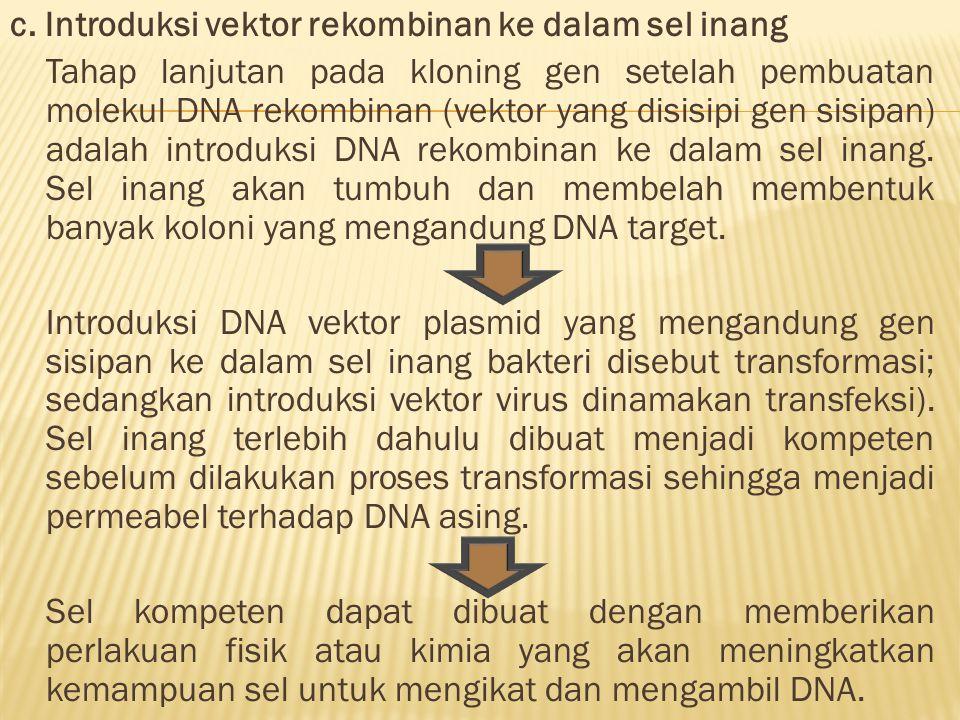 c. Introduksi vektor rekombinan ke dalam sel inang Tahap lanjutan pada kloning gen setelah pembuatan molekul DNA rekombinan (vektor yang disisipi gen