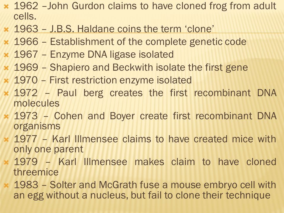  1962 –John Gurdon claims to have cloned frog from adult cells.  1963 – J.B.S. Haldane coins the term 'clone'  1966 – Establishment of the complete