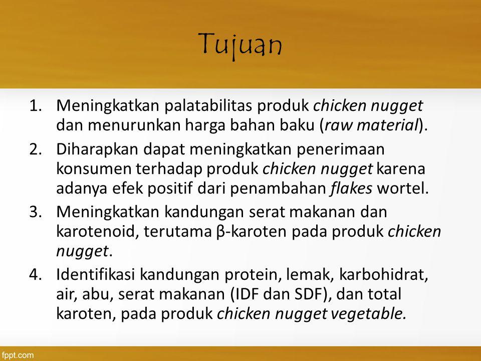 Tujuan 1.Meningkatkan palatabilitas produk chicken nugget dan menurunkan harga bahan baku (raw material). 2.Diharapkan dapat meningkatkan penerimaan k