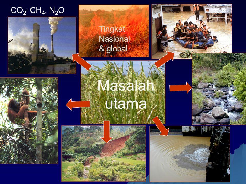 Masalah utama CO 2, CH 4, N 2 O Tingkat Nasional & global