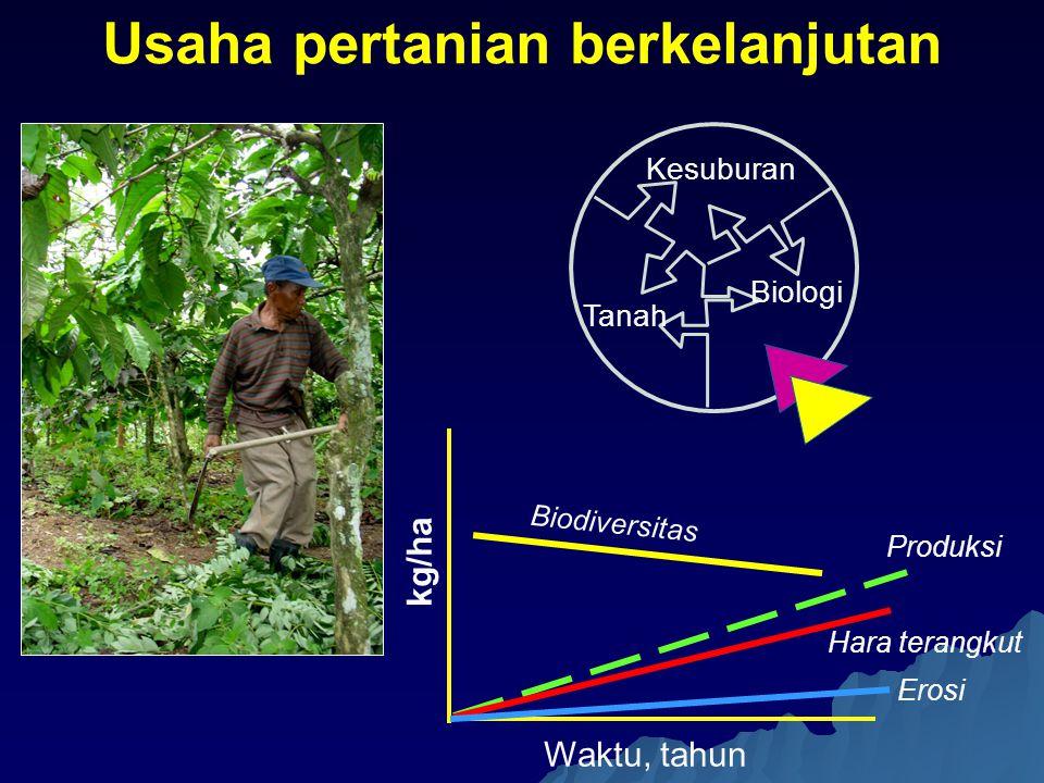 Kesuburan Tanah Biologi Usaha pertanian berkelanjutan Hara terangkut Produksi Erosi kg/ha Waktu, tahun Biodiversitas