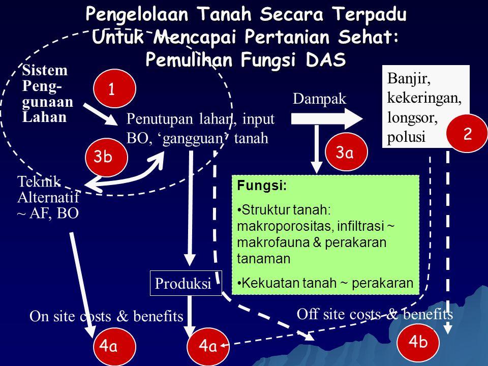 4a Sistem Peng- gunaan Lahan Banjir, kekeringan, longsor, polusi Fungsi: Struktur tanah: makroporositas, infiltrasi ~ makrofauna & perakaran tanaman K