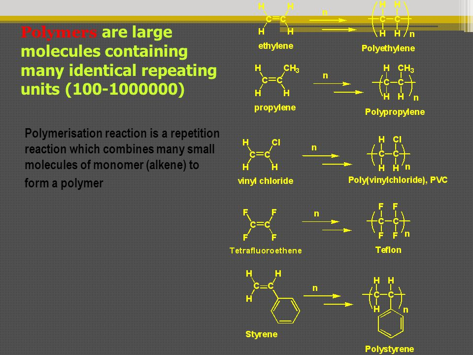 Polymers are large molecules containing many identical repeating units (100-1000000) Polymerisation reaction is a repetition reaction which combines m