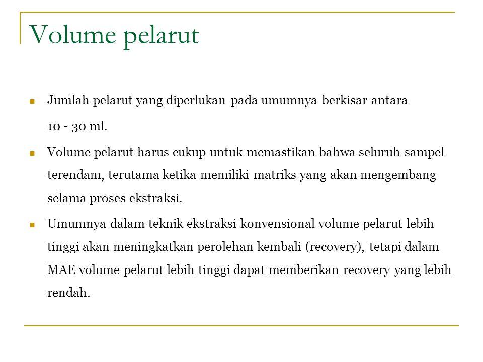 Volume pelarut Jumlah pelarut yang diperlukan pada umumnya berkisar antara 10 - 30 ml. Volume pelarut harus cukup untuk memastikan bahwa seluruh sampe