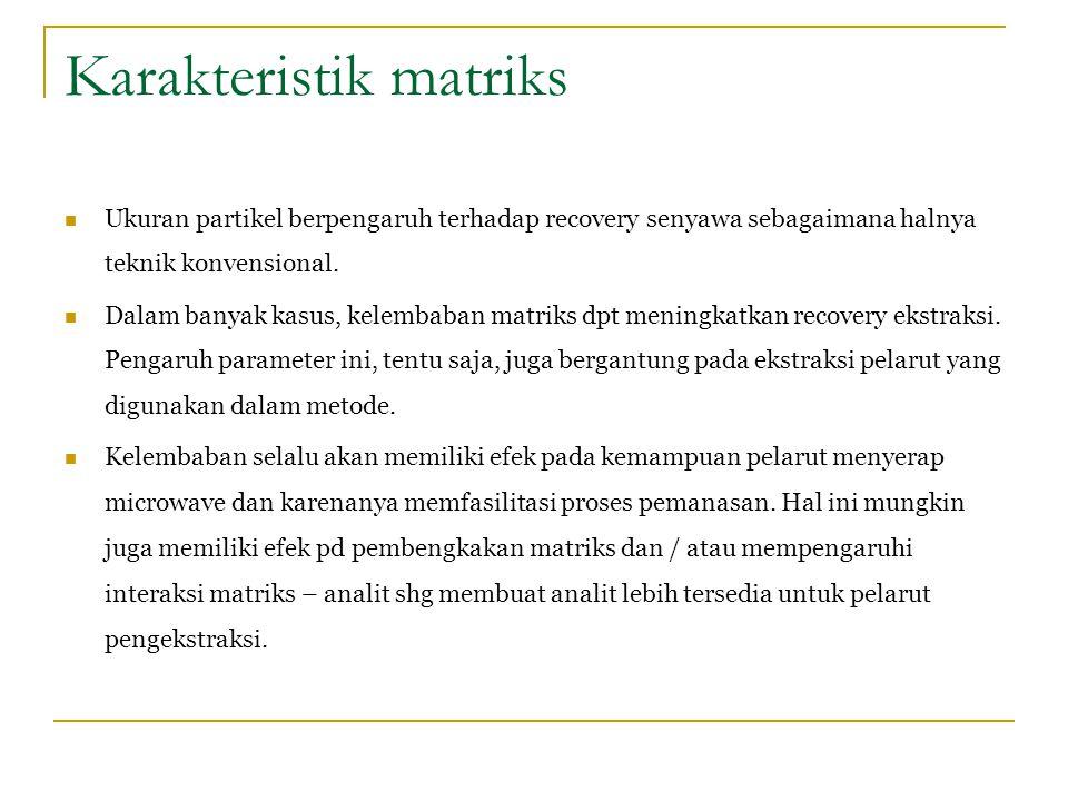 Karakteristik matriks Ukuran partikel berpengaruh terhadap recovery senyawa sebagaimana halnya teknik konvensional. Dalam banyak kasus, kelembaban mat