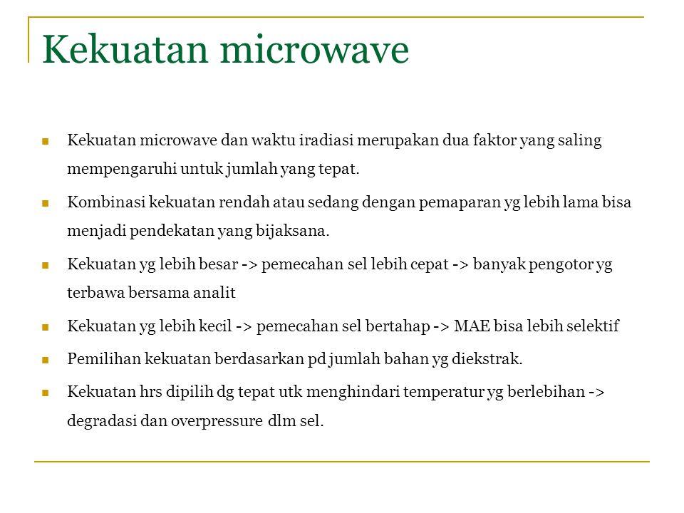 Kekuatan microwave Kekuatan microwave dan waktu iradiasi merupakan dua faktor yang saling mempengaruhi untuk jumlah yang tepat. Kombinasi kekuatan ren