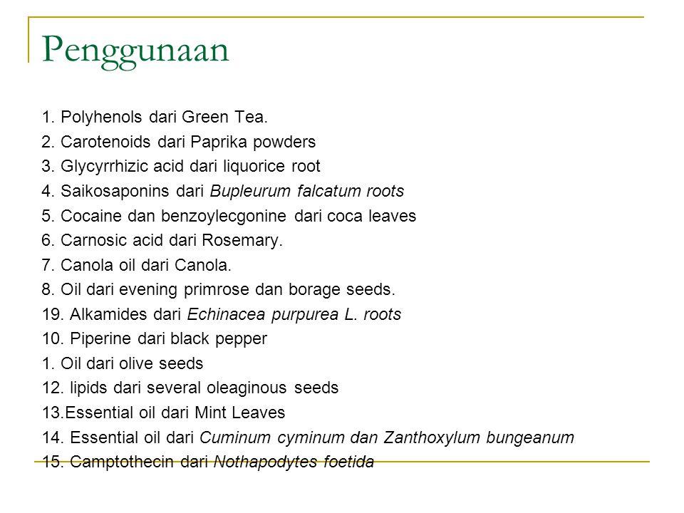 Penggunaan 1. Polyhenols dari Green Tea. 2. Carotenoids dari Paprika powders 3. Glycyrrhizic acid dari liquorice root 4. Saikosaponins dari Bupleurum