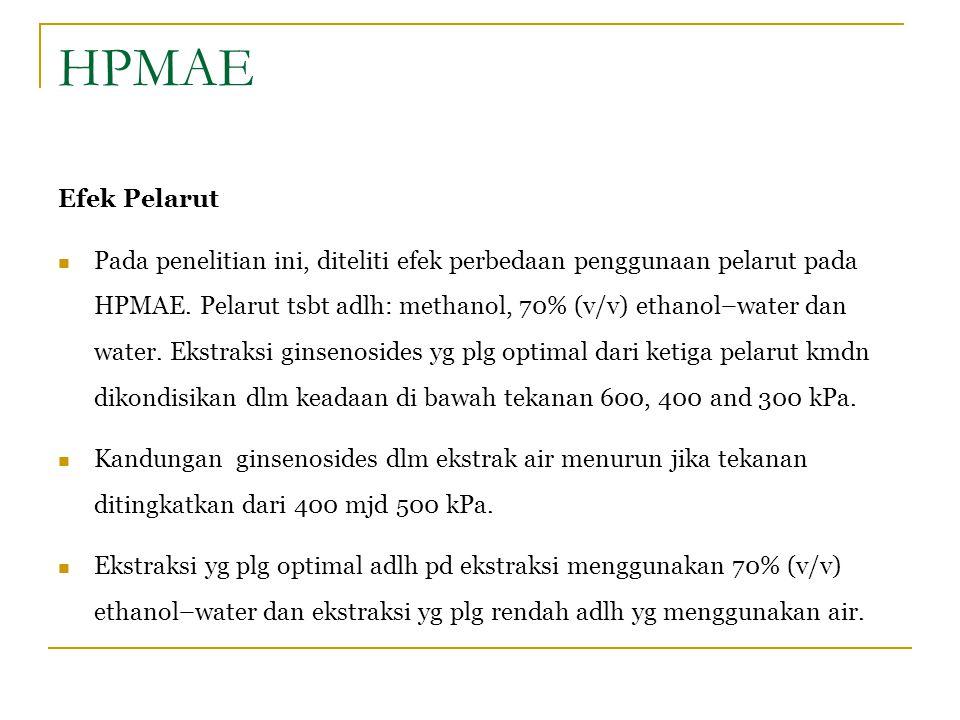 HPMAE Efek Pelarut Pada penelitian ini, diteliti efek perbedaan penggunaan pelarut pada HPMAE. Pelarut tsbt adlh: methanol, 70% (v/v) ethanol–water da