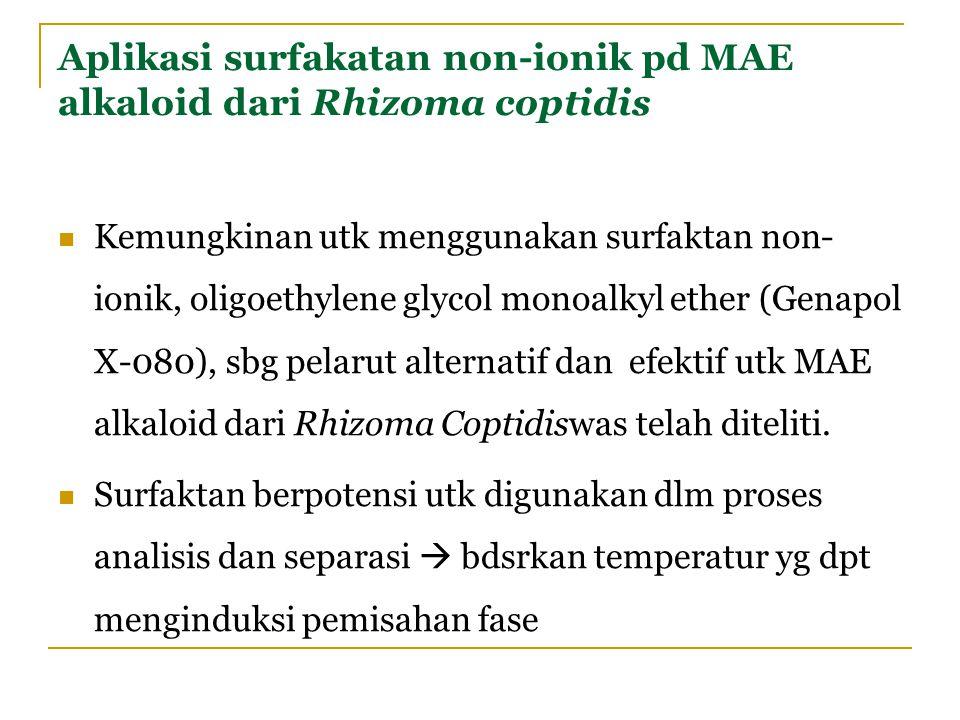 Aplikasi surfakatan non-ionik pd MAE alkaloid dari Rhizoma coptidis Kemungkinan utk menggunakan surfaktan non- ionik, oligoethylene glycol monoalkyl e