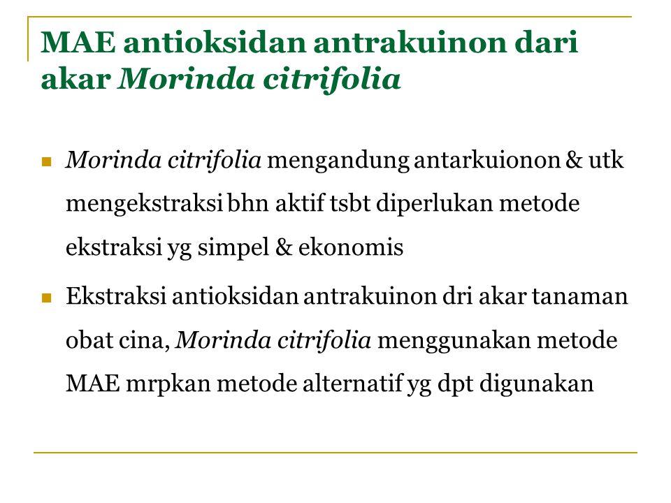 MAE antioksidan antrakuinon dari akar Morinda citrifolia Morinda citrifolia mengandung antarkuionon & utk mengekstraksi bhn aktif tsbt diperlukan meto