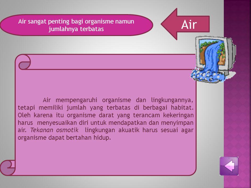 SUHU Suhu faktor persebaran organisme Suhu lingkungan merupakan faktor persebaran organisme, bila suhu tidak sesuai maka sel akan rusak oleh sebab itu