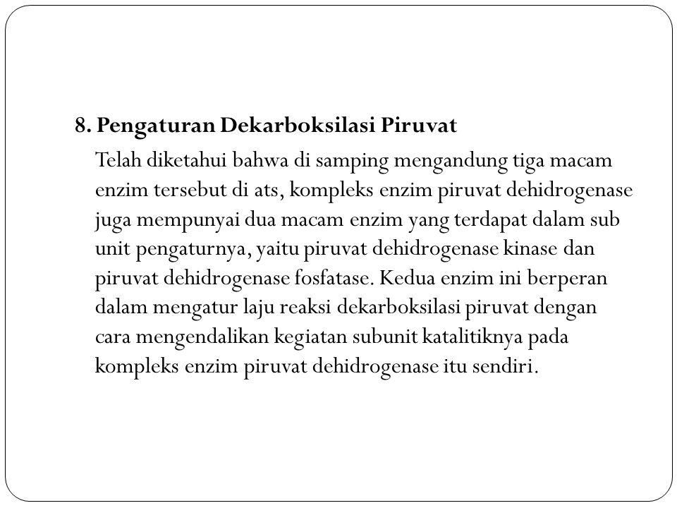 8. Pengaturan Dekarboksilasi Piruvat Telah diketahui bahwa di samping mengandung tiga macam enzim tersebut di ats, kompleks enzim piruvat dehidrogenas