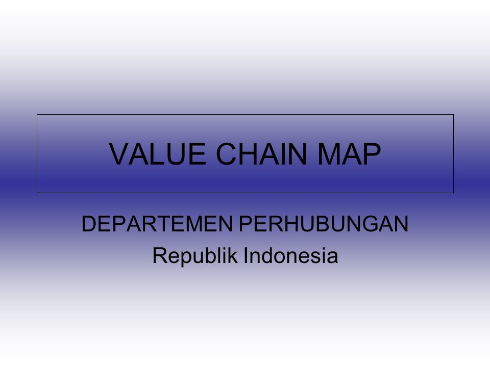 VALUE CHAIN MAP DEPARTEMEN PERHUBUNGAN Republik Indonesia