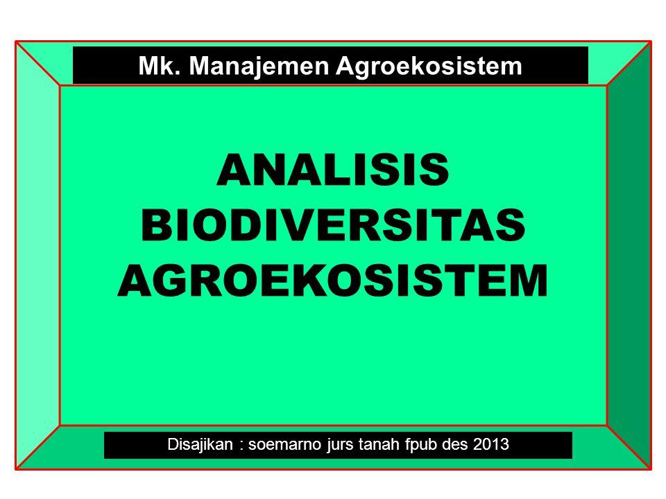 ANALISIS BIODIVERSITAS AGROEKOSISTEM Disajikan : soemarno jurs tanah fpub des 2013 Mk. Manajemen Agroekosistem