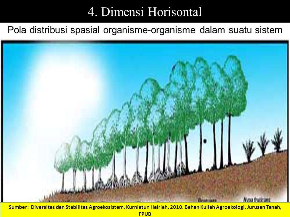 Pola distribusi spasial organisme-organisme dalam suatu sistem 4. Dimensi Horisontal Sumber: Diversitas dan Stabilitas Agroekosistem. Kurniatun Hairia