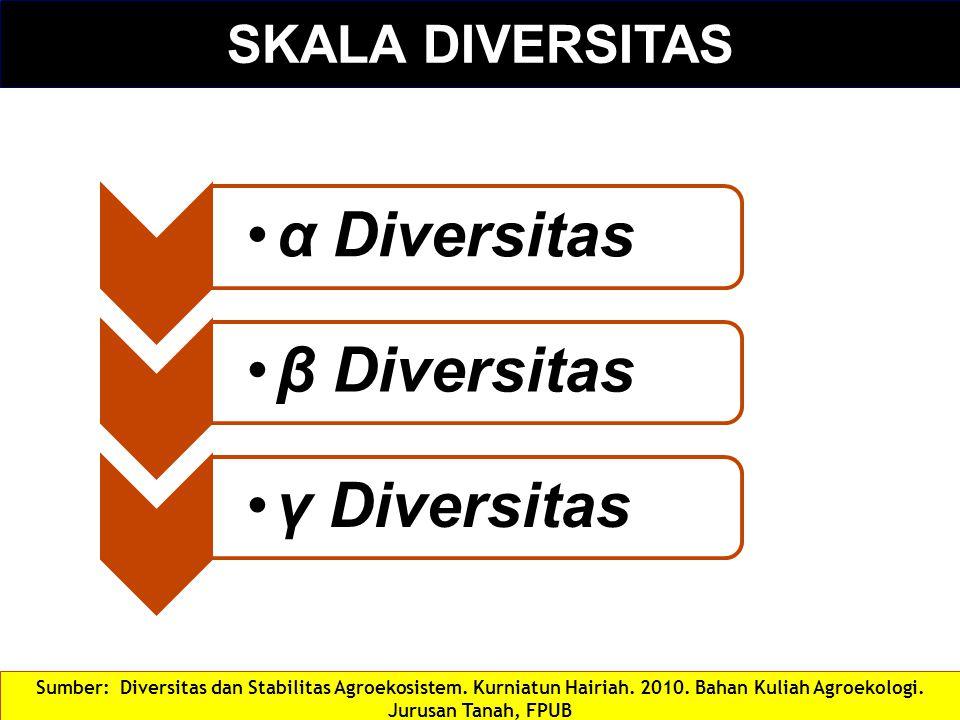 SKALA DIVERSITAS α Diversitasβ Diversitas γ Diversitas Sumber: Diversitas dan Stabilitas Agroekosistem. Kurniatun Hairiah. 2010. Bahan Kuliah Agroekol