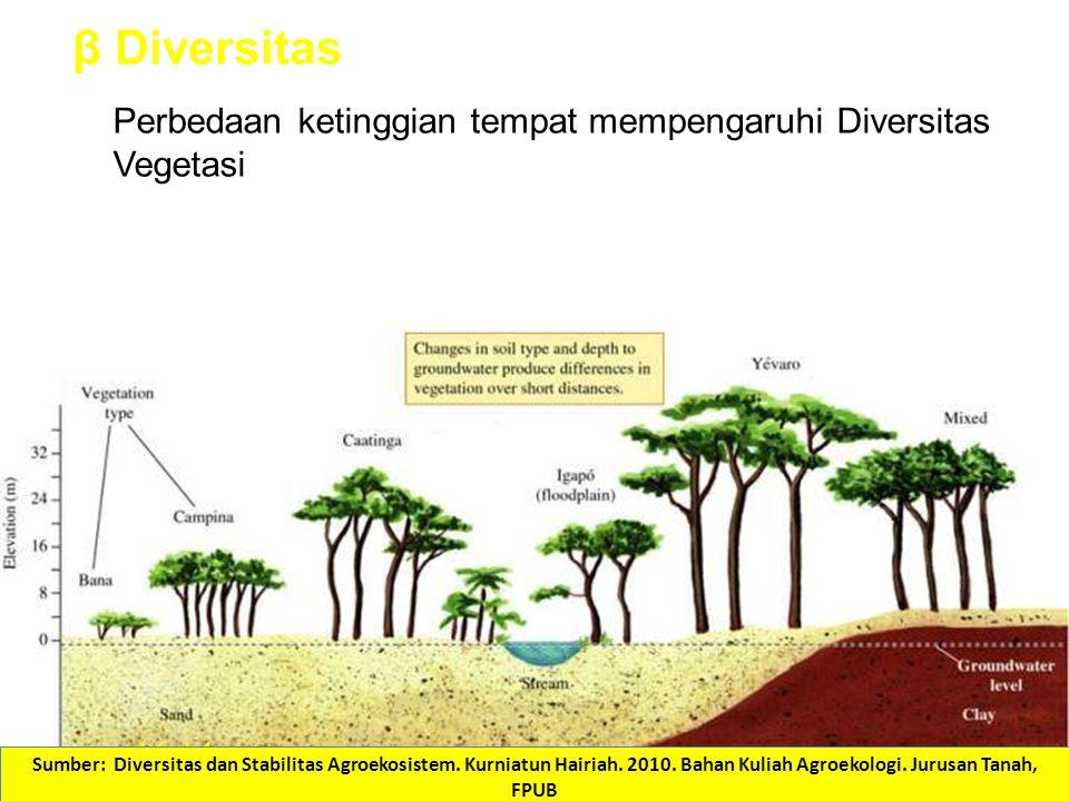 Beta – Lamanya hidup berbagai jenis pada berbagai kondisi lingkungan 16.14 Perbedaan ketinggian tempat mempengaruhi Diversitas Vegetasi β Diversitas Sumber: Diversitas dan Stabilitas Agroekosistem.
