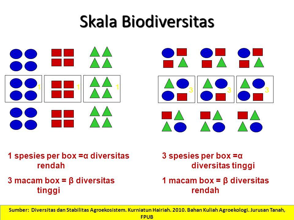 Skala Biodiversitas 1 3 11 33 1 spesies per box =α diversitas rendah 3 macam box = β diversitas tinggi 3 spesies per box =α diversitas tinggi 1 macam box = β diversitas rendah Sumber: Diversitas dan Stabilitas Agroekosistem.