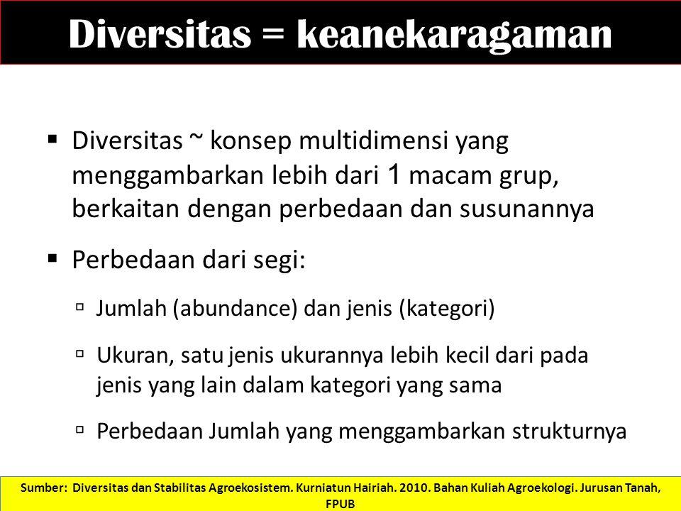 Diversitas  Diversity is a multi-dimensional concept, not a single scalar.