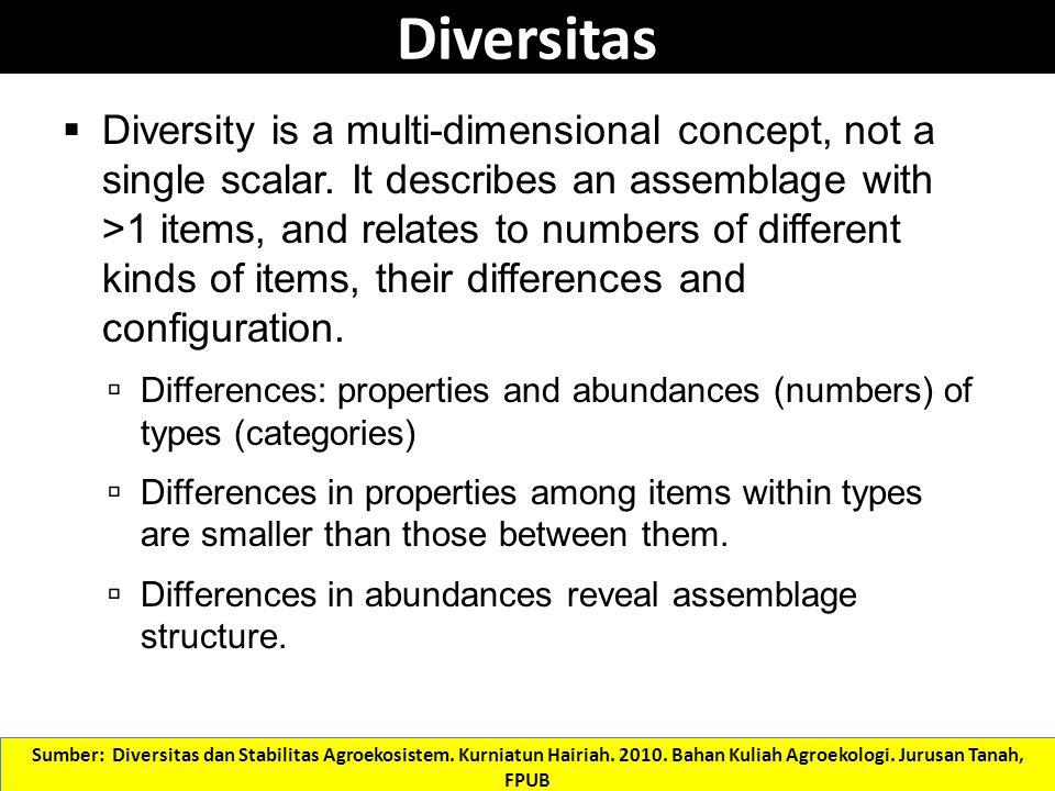 Diversity and stability Stability Species diversity Stabilitas: tidak ada gejolak populasi organisma dalam suatu ekosistem atau disebut juga kondisi yang stabil Sumber: Diversitas dan Stabilitas Agroekosistem.