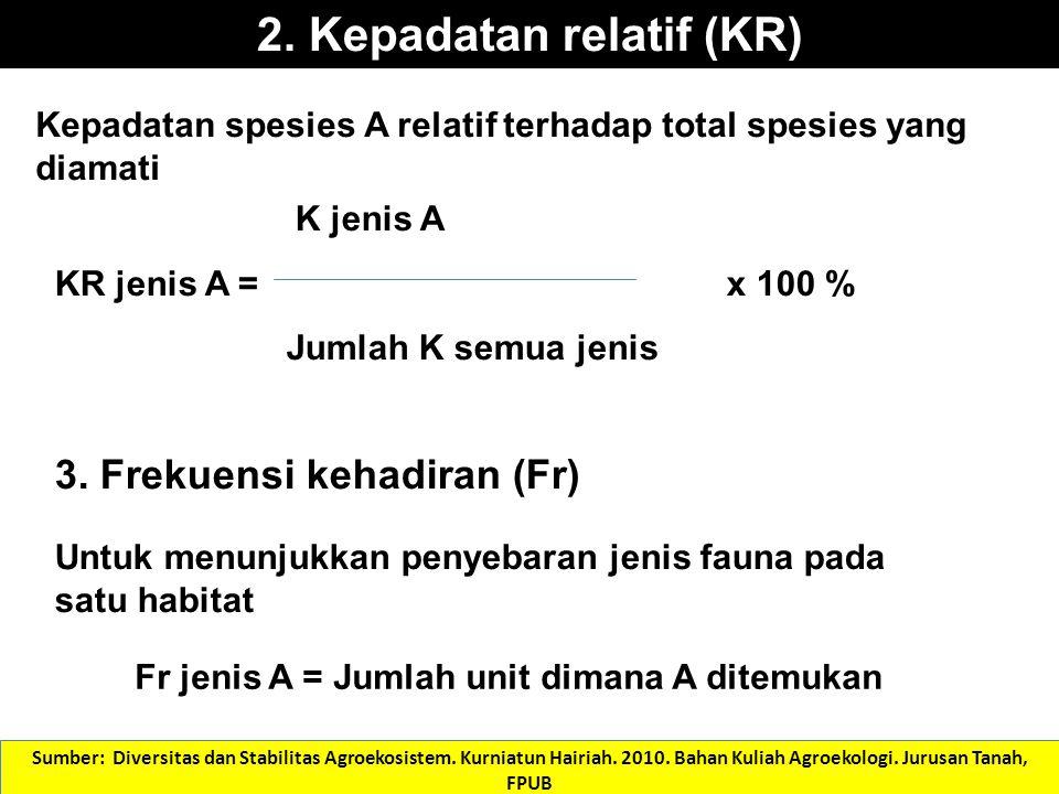 2. Kepadatan relatif (KR) K jenis A KR jenis A = x 100 % Jumlah K semua jenis 3. Frekuensi kehadiran (Fr) Untuk menunjukkan penyebaran jenis fauna pa
