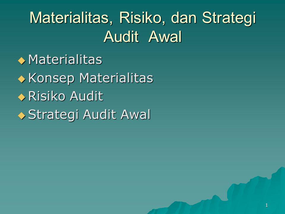 1 Materialitas, Risiko, dan Strategi Audit Awal  Materialitas  Konsep Materialitas  Risiko Audit  Strategi Audit Awal