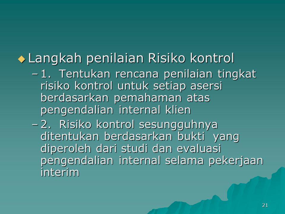 21  Langkah penilaian Risiko kontrol –1. Tentukan rencana penilaian tingkat risiko kontrol untuk setiap asersi berdasarkan pemahaman atas pengendalia