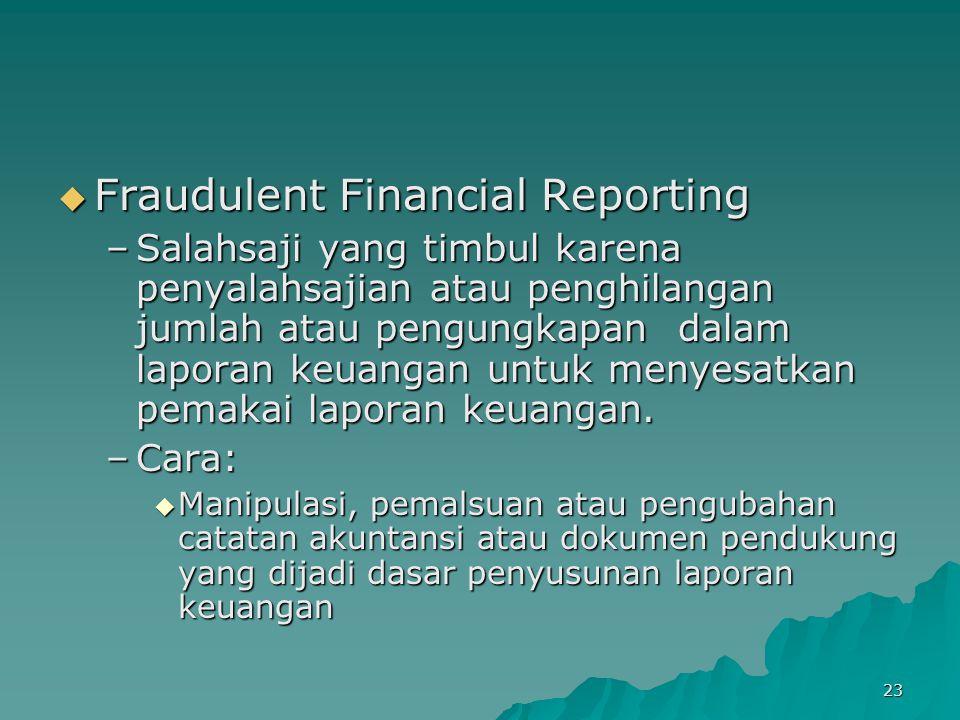 23  Fraudulent Financial Reporting –Salahsaji yang timbul karena penyalahsajian atau penghilangan jumlah atau pengungkapan dalam laporan keuangan unt