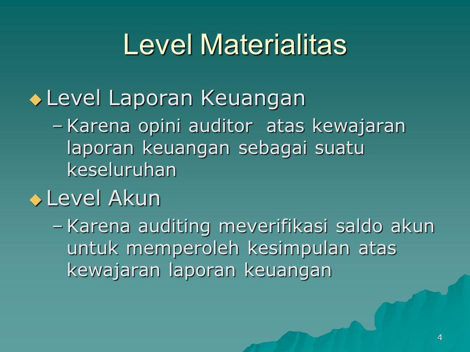 4 Level Materialitas  Level Laporan Keuangan –Karena opini auditor atas kewajaran laporan keuangan sebagai suatu keseluruhan  Level Akun –Karena aud