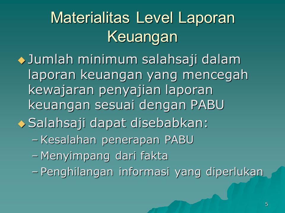 5 Materialitas Level Laporan Keuangan  Jumlah minimum salahsaji dalam laporan keuangan yang mencegah kewajaran penyajian laporan keuangan sesuai deng