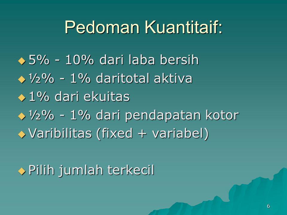 6 Pedoman Kuantitaif:  5% - 10% dari laba bersih  ½% - 1% daritotal aktiva  1% dari ekuitas  ½% - 1% dari pendapatan kotor  Varibilitas (fixed +