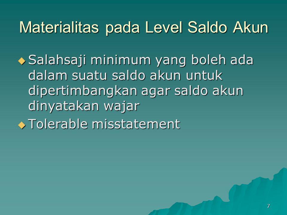 7 Materialitas pada Level Saldo Akun  Salahsaji minimum yang boleh ada dalam suatu saldo akun untuk dipertimbangkan agar saldo akun dinyatakan wajar
