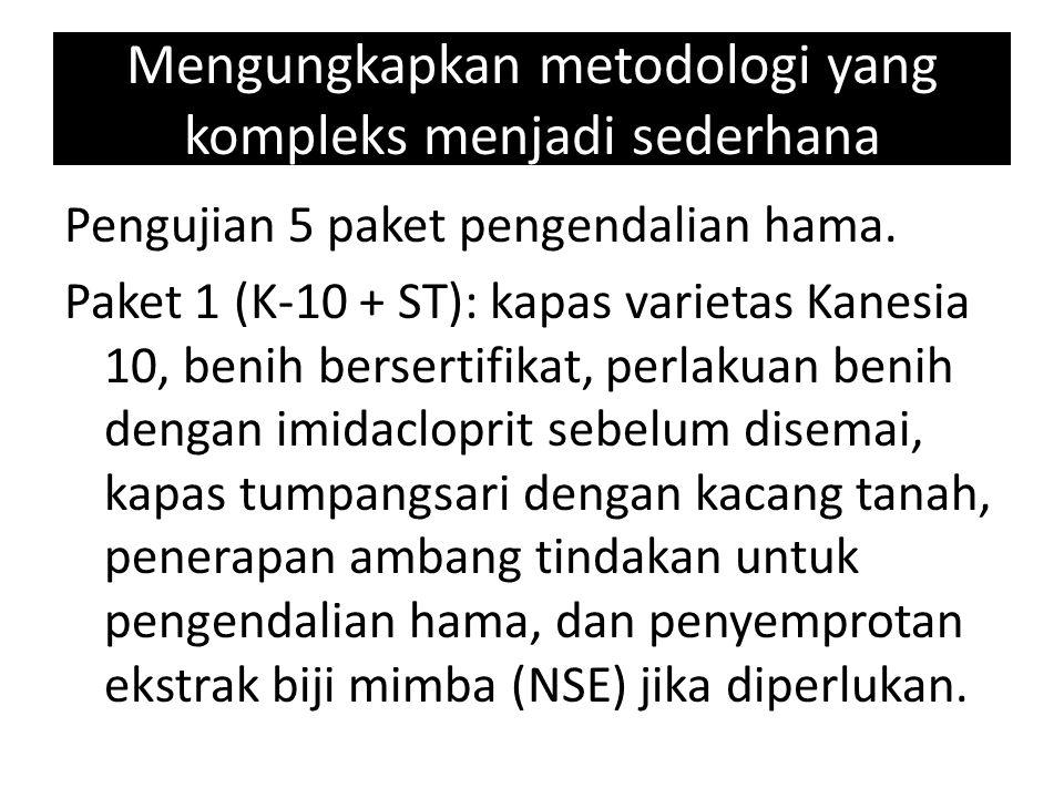 Mengungkapkan metodologi yang kompleks menjadi sederhana Pengujian 5 paket pengendalian hama. Paket 1 (K-10 + ST): kapas varietas Kanesia 10, benih be