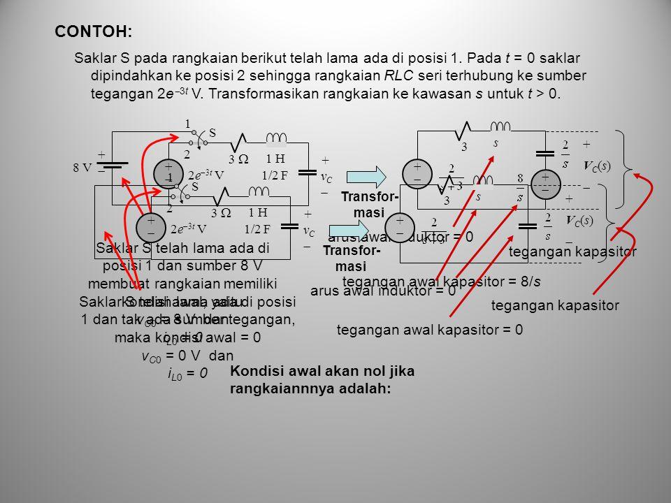 Saklar S pada rangkaian berikut telah lama ada di posisi 1. Pada t = 0 saklar dipindahkan ke posisi 2 sehingga rangkaian RLC seri terhubung ke sumber