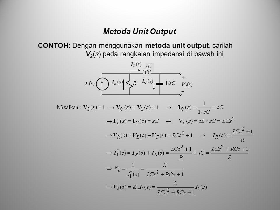 Metoda Unit Output CONTOH: Dengan menggunakan metoda unit output, carilah V 2 (s) pada rangkaian impedansi di bawah ini sL R1/sC I1(s)I1(s) +V2(s)+V2