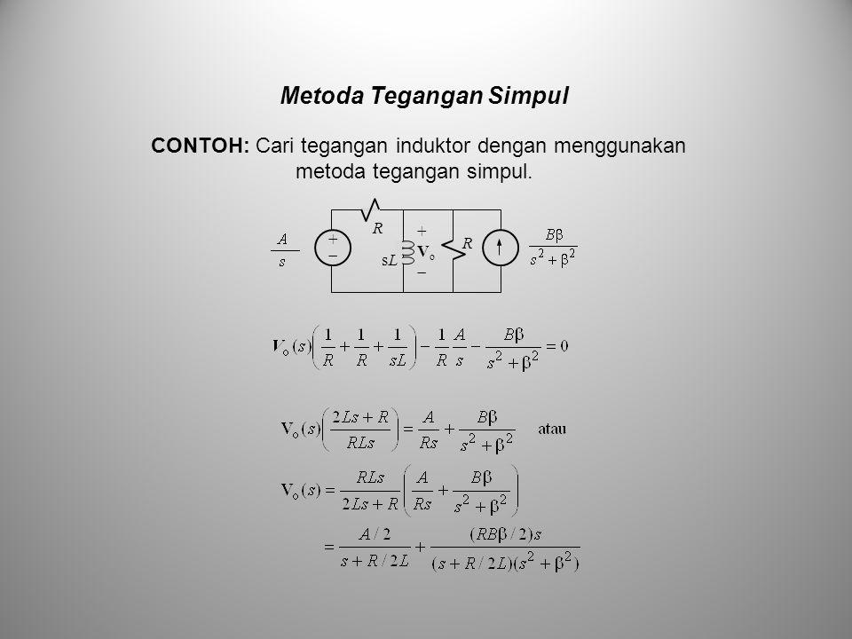 Metoda Tegangan Simpul ++ R sLsL +Vo+Vo R CONTOH: Cari tegangan induktor dengan menggunakan metoda tegangan simpul.