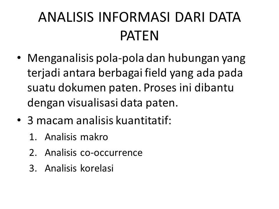 ANALISIS INFORMASI DARI DATA PATEN Menganalisis pola-pola dan hubungan yang terjadi antara berbagai field yang ada pada suatu dokumen paten. Proses in