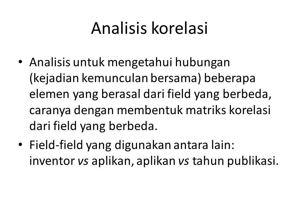 Analisis korelasi Analisis untuk mengetahui hubungan (kejadian kemunculan bersama) beberapa elemen yang berasal dari field yang berbeda, caranya denga