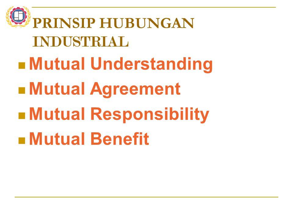 PRINSIP HUBUNGAN INDUSTRIAL Mutual Understanding Mutual Agreement Mutual Responsibility Mutual Benefit