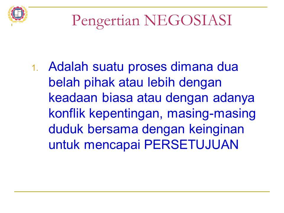 Pengertian NEGOSIASI 1. Adalah suatu proses dimana dua belah pihak atau lebih dengan keadaan biasa atau dengan adanya konflik kepentingan, masing-masi