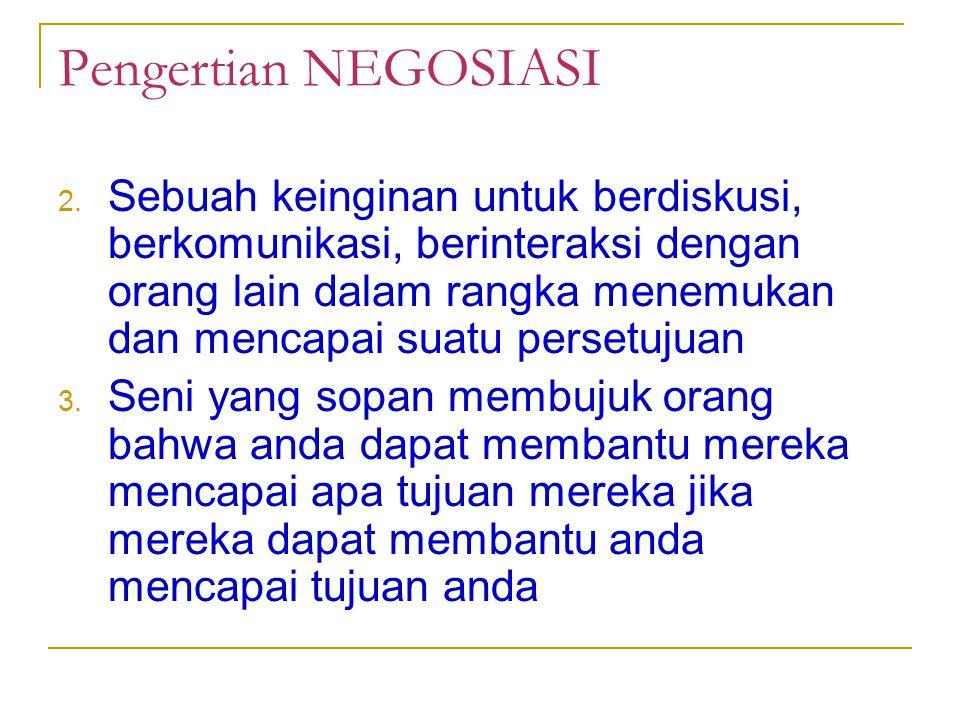Pengertian NEGOSIASI 2. Sebuah keinginan untuk berdiskusi, berkomunikasi, berinteraksi dengan orang lain dalam rangka menemukan dan mencapai suatu per