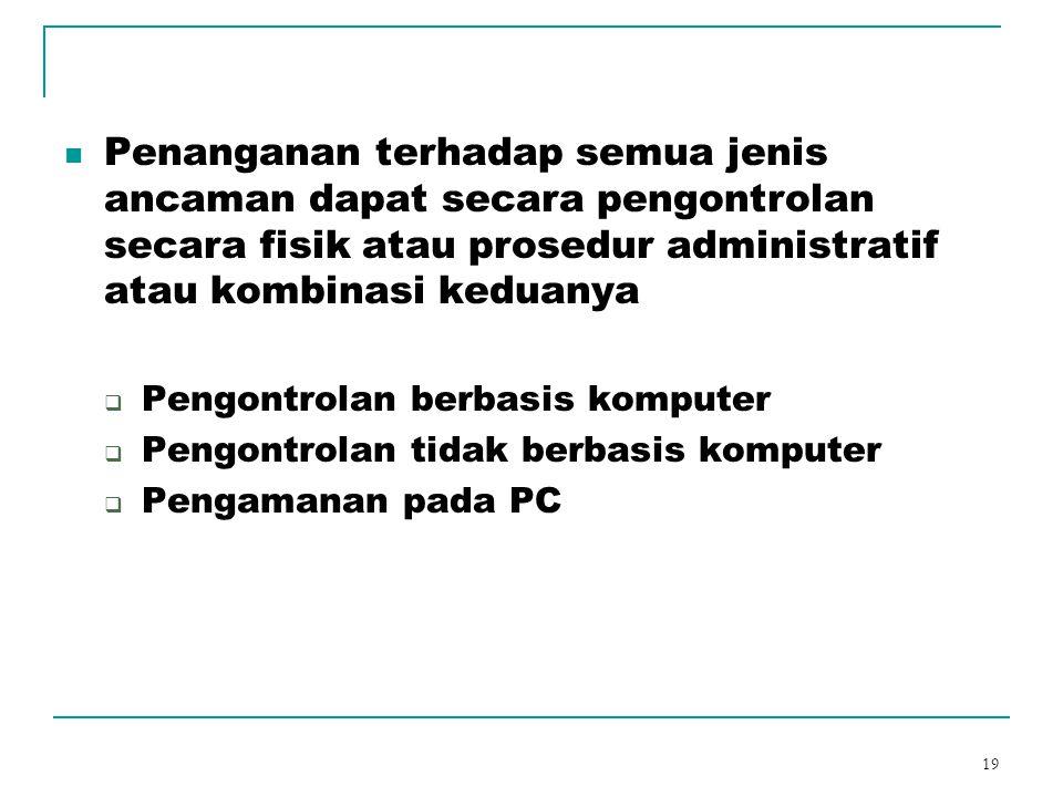19 Penanganan terhadap semua jenis ancaman dapat secara pengontrolan secara fisik atau prosedur administratif atau kombinasi keduanya  Pengontrolan b