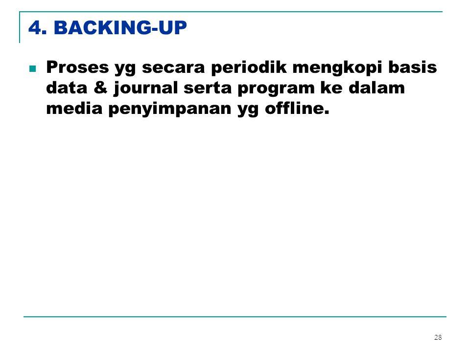 28 4. BACKING-UP Proses yg secara periodik mengkopi basis data & journal serta program ke dalam media penyimpanan yg offline.