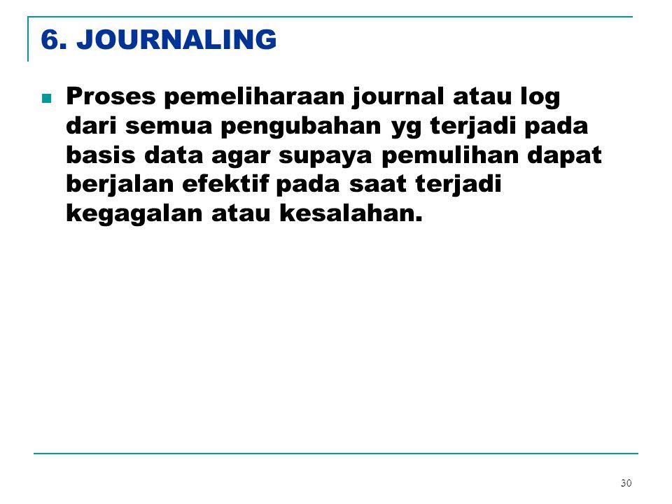 30 6. JOURNALING Proses pemeliharaan journal atau log dari semua pengubahan yg terjadi pada basis data agar supaya pemulihan dapat berjalan efektif pa