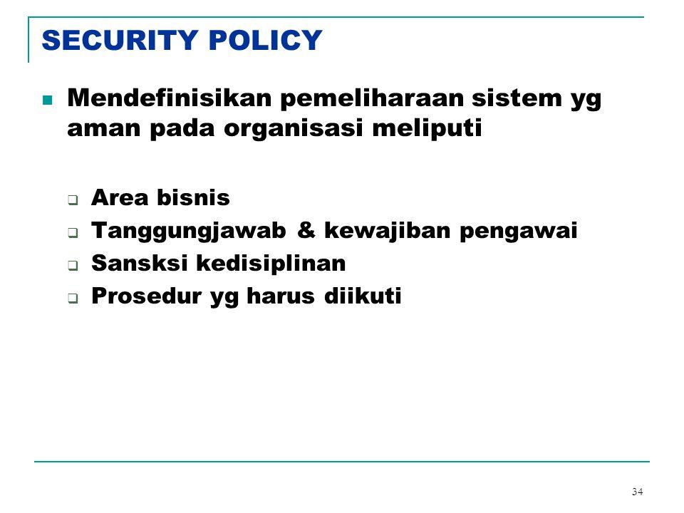 34 SECURITY POLICY Mendefinisikan pemeliharaan sistem yg aman pada organisasi meliputi  Area bisnis  Tanggungjawab & kewajiban pengawai  Sansksi ke