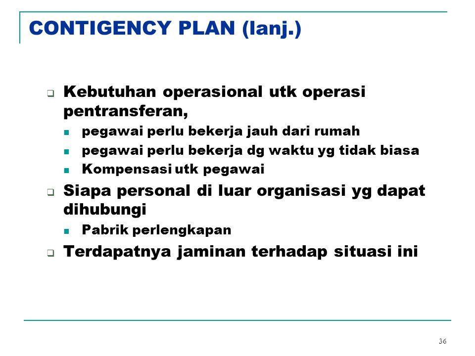 36 CONTIGENCY PLAN (lanj.)  Kebutuhan operasional utk operasi pentransferan, pegawai perlu bekerja jauh dari rumah pegawai perlu bekerja dg waktu yg