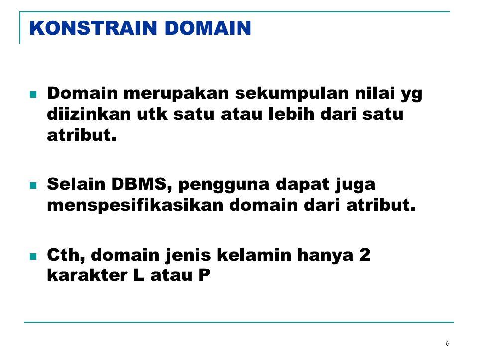 6 KONSTRAIN DOMAIN Domain merupakan sekumpulan nilai yg diizinkan utk satu atau lebih dari satu atribut. Selain DBMS, pengguna dapat juga menspesifika