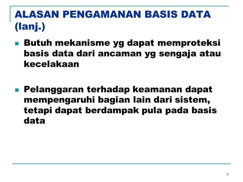 9 ALASAN PENGAMANAN BASIS DATA (lanj.) Butuh mekanisme yg dapat memproteksi basis data dari ancaman yg sengaja atau kecelakaan Pelanggaran terhadap ke